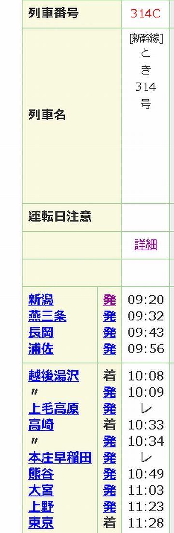 『とき314号』時刻表