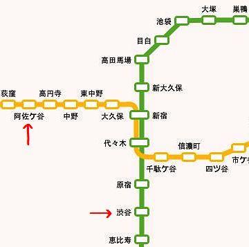 渋谷から阿佐ヶ谷まで歩いた