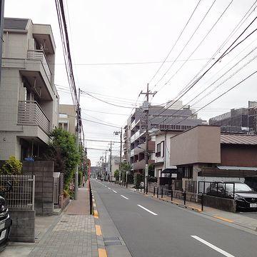 低層のマンションと住宅が連なってます