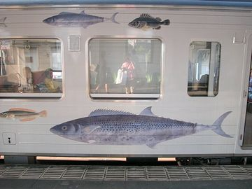 JR四国を走るお魚列車(魚が乗ってるわけではありません)