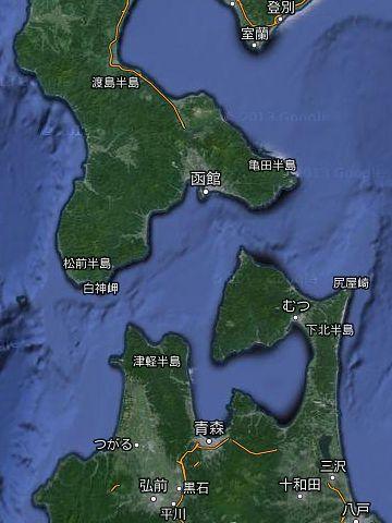 青森湾は、津軽半島と下北半島の奥に挟まれた奥にありますから……