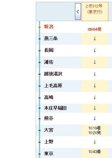 『とき312号』時刻表