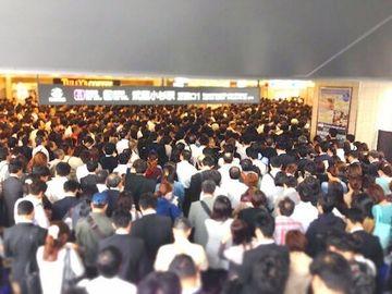 台風の日の『武蔵小杉駅』