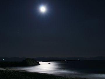 桂浜にかかる月