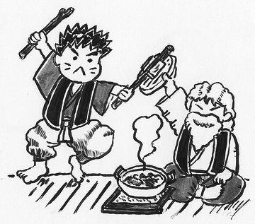 宮本武蔵の奇襲を、鍋の蓋で受け止める塚原卜伝(ぼくでん)