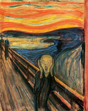手前の人物は、叫んでいるのではありません。叫びを聞いているのです。