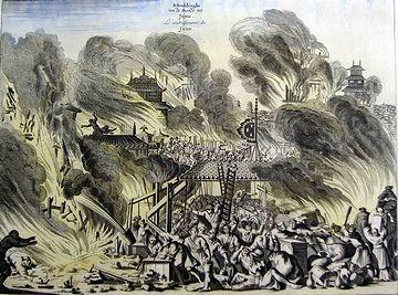 オランダの宣教師モンタヌスが描いた『明暦江戸大火之図』