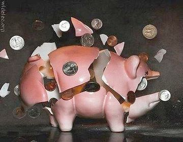 豚の貯金箱を割って、お支払い