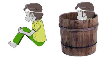 樽みたいなのに入って、膝を抱えて埋まってる