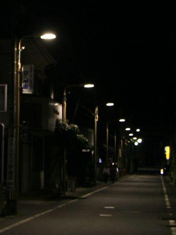 街灯が道路を照らし、道の先まで見通せました