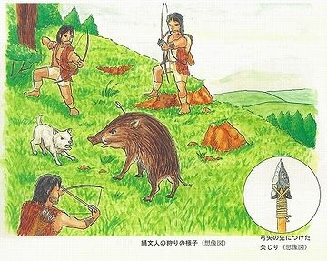 男は、縄文犬を連れて、イノシシを狩る