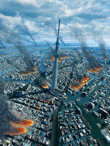 高速道路や鉄道の高架が崩れ、高層ビルも倒壊します