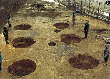 1994年に、大型建物の跡と思われる柱が発掘されてね