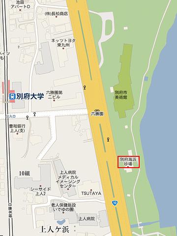 「別府海浜砂湯」地図