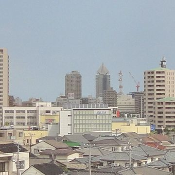 遠くに見えた高層ビルのあたり