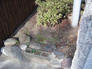 植え付け前の玄関脇