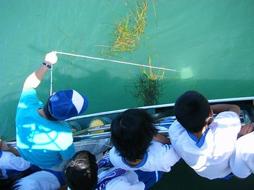 直径30cmの白色円板を水中に沈め、肉眼により水面から識別できる限界の深さ。