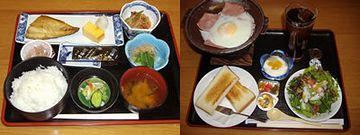 朝食は、和定食と洋定食があります
