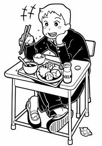 平たいお弁当を机に置き、肘を着いて食べてる