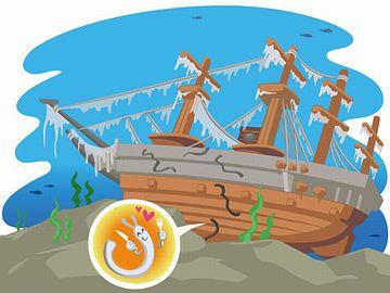 沖で、綿を積んだ船が座礁し……