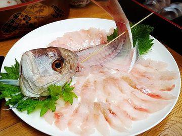 釣りたての魚の刺し身