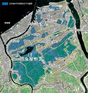 青く塗られてる部分が、日本海の海面より低い範囲