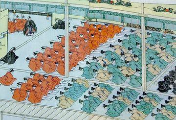 江戸城の新年。ひれ伏すのは諸大名。