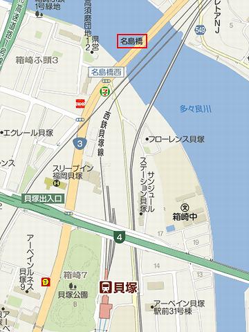 名島橋付近の地図