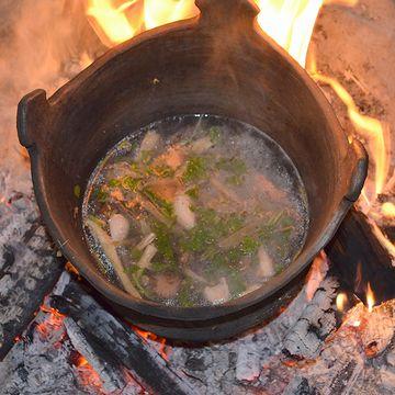縄文土器で潮汁