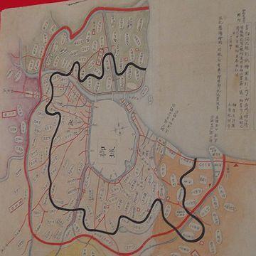 江戸の範囲を表すのが、朱引。その内側の墨引は、町奉行所支配の範囲です。