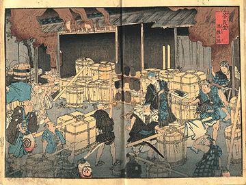 『荼毘室(やきば)混雑の図』。安政5年(1858) 、コロリ(コレラ)大流行。