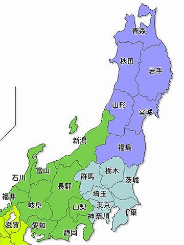 北から、青森、岩手、宮城、福島、茨城、千葉か