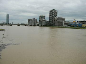 信濃川・水の色は黄土色