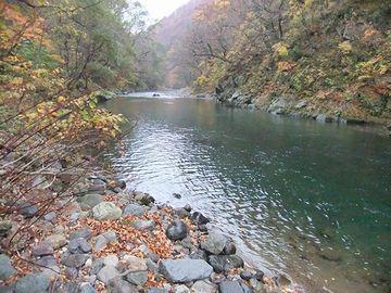 この滝の上流が、赤石川渓流なんです