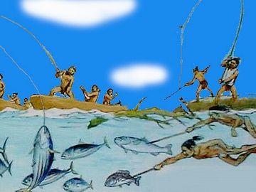 海に出て、魚を捕る