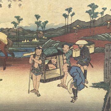 『岐阻道中 熊谷宿 八丁堤ノ景』画:渓斎英泉