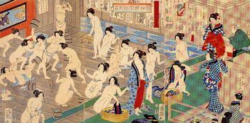 女湯の喧嘩を描いた浮世絵