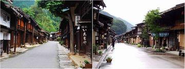 妻籠宿(左)・奈良井宿(右)