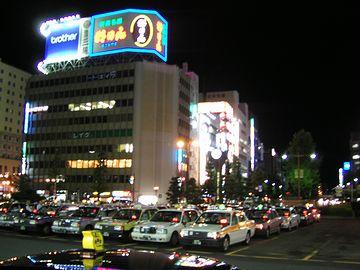 夜の新潟駅万代口