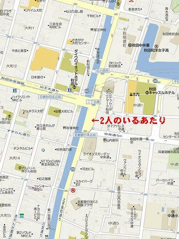 秋田・この道路の反対側、川なんだね