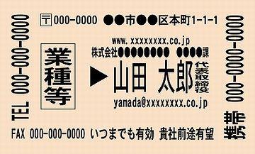切符風名刺のサンプル