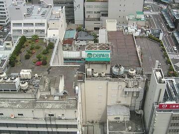 「NEXT21」の展望ラウンジから見た大和屋上