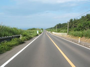 道路の左側に見えるのが、大湊線の線路だと思います