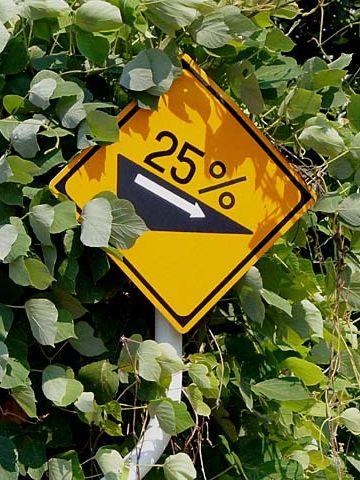 ありました、25‰の標識
