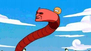 """『もやしもん』というアニメに出現した人面ミミズ。ミミズに載ってるのが、""""もやしもん""""らしいです。"""