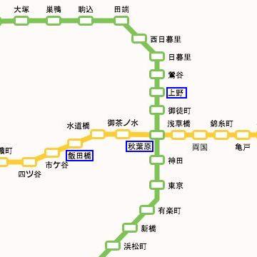 『飯田橋→水道橋→お茶の水→秋葉原(乗り換え)→御徒町→上野』