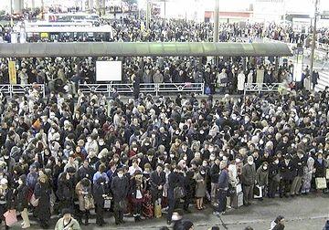 東日本大震災当日の渋谷駅