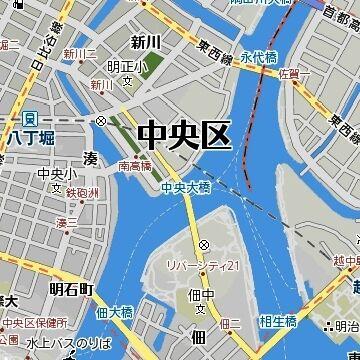 隅田川の左右とも、中央区