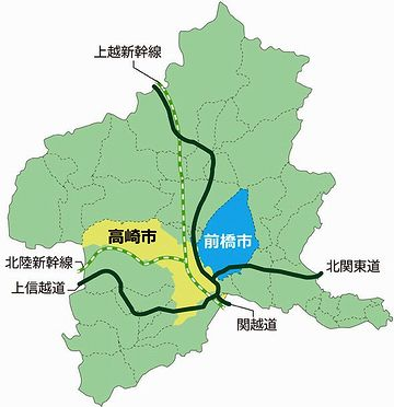 高崎市には、上越新幹線と北陸新幹線が通ってます