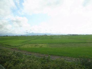 津軽鉄道の車窓から。ずっとこんな景色が続くんだと思います。